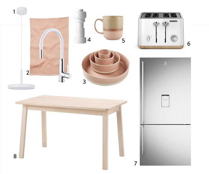 "1. LEDlux ""Bennett"" dimmable LED **pendant** in Matte White (30cm), $349, Beacon Lighting. 2. Dorf ""White Vixen"" retractable **sink mixer**, $316, Bunnings. Sierra **tea towel** in Coral, $19, Greenhouse Interiors. 3. Kali **serving bowls** in Pastel Pink, $79.95 for set of 4, Aura Home. 4. Norway Says for Muuto ""Plus"" **pepper grinder** in White, $105, Huset. 5. Loose **mug** in Glazed Pink, $3, Kmart. 6. Morphy Richards ""Scandi Aspects"" 4-slice **toaster** in White, $159, Myer. 7. Electrolux ""FreshPlus"" 528L right-hinge bottom-mount **fridge** in Stainless Steel, $1740, Harvey Norman. 8. Norraker **table** in White Birch, $149, Ikea."
