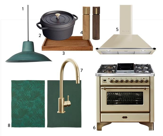 """1. Hat **light** in Bottle, $493, Mud Australia. 2. Staub cast iron round **cocotte** in Black, $299.95 for 18cm, Myer. 3. AYTM """"Unity"""" **tray** in Walnut, $100, Collector Store. 4. Ado **grinders** in Natural or Walnut, $69.95 each, Country Road. 5. KT90PA 90cm canopy **rangehood**, $2390, Smeg. 6. Majestic Series 90cm **freestanding cooker** in Antique White, $11,999, Ilve. 7. Yokato kitchen **mixer** with pull-out spray in Brushed Nordic Brass PVD, $1303, Candana. 8. Vildkaprifol **tea towel**, $6.99 for pack of 2, Ikea."""