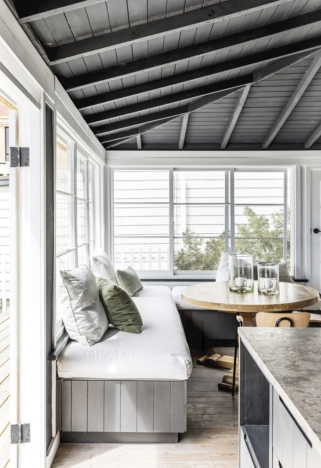 "In this laidback [beachside cottage in Sydney](https://www.homestolove.com.au/sydney-beachside-cottage-renovation-19073|target=""_blank""), a comfortable dining nook is ideally positioned to take in the panoramic ocean views while providing extra storage."
