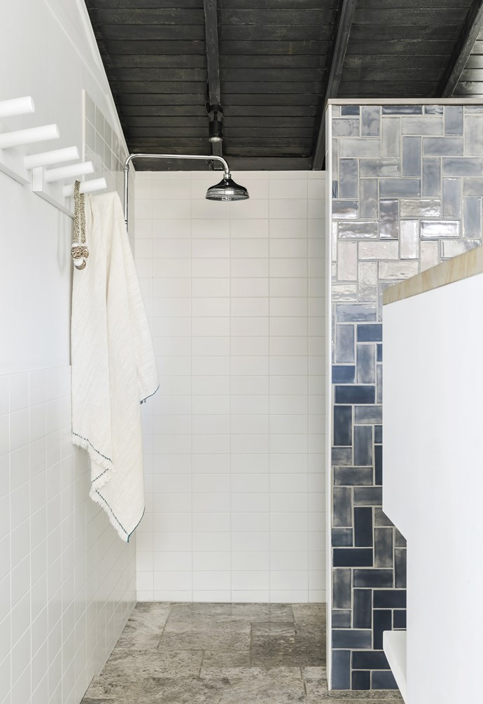 "**Ensuite** Travertine floor tiles from My Stone ground the parents' retreat, which features the same finishes as the other bathrooms. A pendant light from The Society Inc is an added touch. Tapware, [Brodware](https://brodware.com/about-us/|target=""_blank""