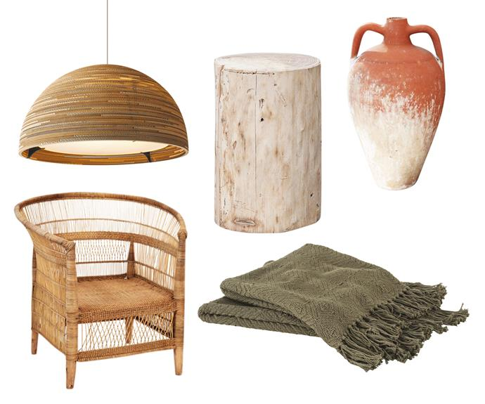 """**Down to earth** Natural materials and earthy colours warm up any interior space, and are especially complementary with timber flooring and exposed timber framework. **Get the look** (clockwise left to right) Graypants 'Dome36' pendant light, $1880, [Radiant Lighting](https://www.radiantlighting.com.au/