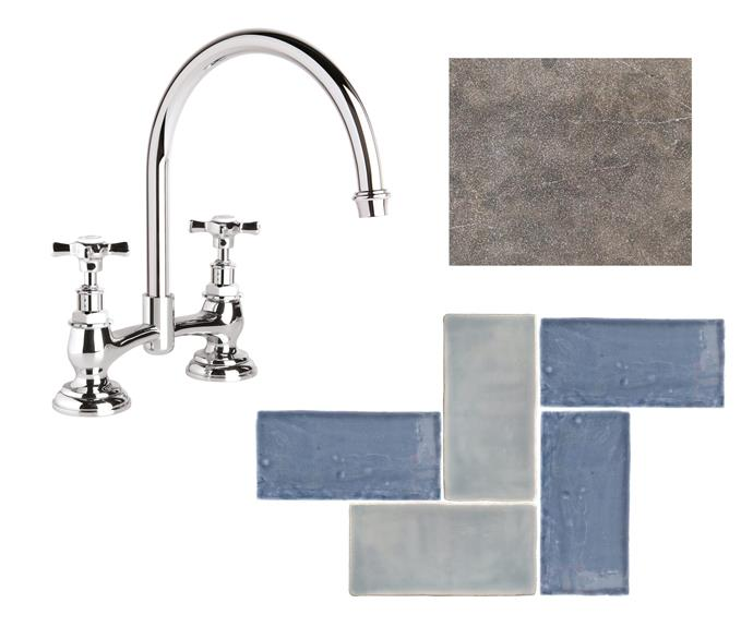 """**Key design details** Versatile glazed tiles are ideal for splashbacks and feature walls. Keep everything else simple. **The tiles** 'Hand-Made' tiles in Denim Gloss and Sky Gloss, $96/sqm each, [Surface Gallery](http://surfacegallery.com.au/