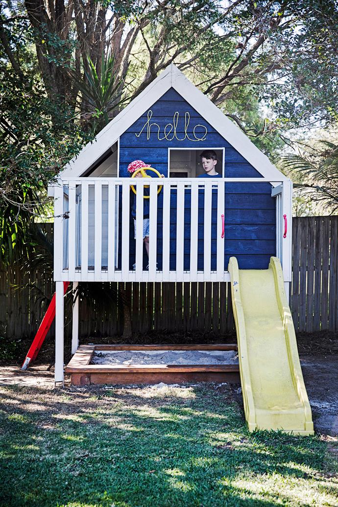 As well as the combo of sandpit and slide, this cubby also features a steering wheel for any race car/pirate ship scenarios that might arise.