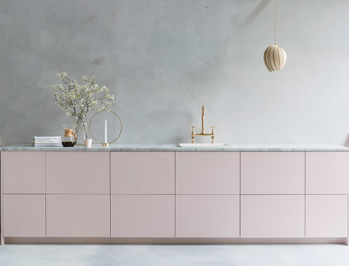 "Transform dated kitchen cabinets with a lick of laminate paint. Here, a soft pink complements marble and brass. **Kitchen design:** [Custom Fronts](https://customfronts.co.uk/|target=""_blank""