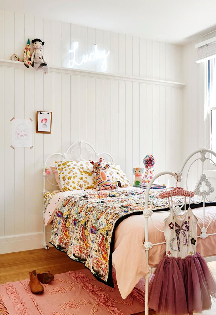 """**Sofia's bedroom** Sprinklings of pink in spotted La Cerise Sur Le Gâteau bedlinen, May Gibbs bedlinen and throw by Kip&Co, and a Langdon Ltd 'Fringe' rug – all available at [Goose](https://www.goosestore.com.au/ target=""""_blank"""" rel=""""nofollow"""") – make Sofia's bedroom a pretty haven. Her vintage bed was freshened up with a lick of paint, and the 'Lucky' lamp is by Neon Poodle. Artworks: (opposite, from left) by Kristen Paul & Sarah Neale, [Sarah Neale Art](http://www.sarahnealeart.com/ target=""""_blank"""" rel=""""nofollow""""); Dress, [Tutu du Monde](https://tutudumonde.com/ target=""""_blank"""" rel=""""nofollow""""). Rabbit (on bed), [Anne-claire Petit](https://www.anneclairepetit.com/home target=""""_blank"""" rel=""""nofollow"""")."""