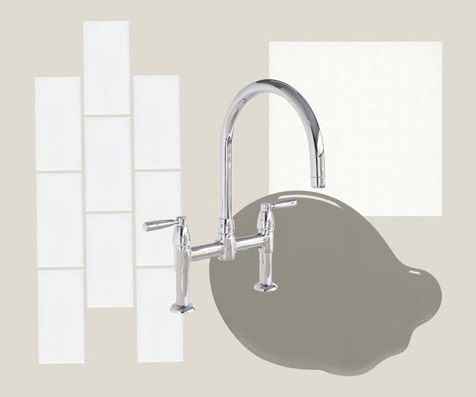 """**Key design details** Neutrality can be the best approach of all. Add to quality base finishes and fittings with splashes of colour in your accessories. **The splashback** 'Woosh' subway tiles, $24.95/sqm, [National Tiles](https://www.nationaltiles.com.au/ target=""""_blank"""" rel=""""nofollow""""). **The tap** Perrin & Rowe 'Io' tap in Chrome, $985, [The English Tapware Company](https://www.englishtapware.com.au/ target=""""_blank"""" rel=""""nofollow""""). **The paint** 'Interior Expressions' low sheen acrylic paint in Boulder Grey, $74.90/4L, [Haymes Paint](http://www.haymespaint.com.au/ target=""""_blank"""" rel=""""nofollow""""). **The benchtop** Quartz surface in Snow, $550/sqm (installed), [Caesarstone](http://caesarstone.com.au/ target=""""_blank"""" rel=""""nofollow"""")."""