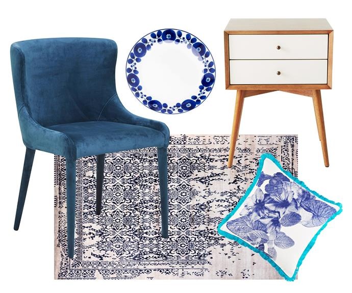 """**Welcome home** Quality mid-century-style pieces and a soothing tonal palette create a timeless atmosphere to attract and relax any busy family at the end of the day. **Get the look** (clockwise left to right) 'Claudia' dining chair, $495, [GlobeWest](https://www.globewest.com.au/ target=""""_blank"""" rel=""""nofollow""""). Hakusan Porcelain 'Blossom' plate, $20/small, [Cibi](https://shop.cibi.com.au/ target=""""_blank"""" rel=""""nofollow""""). 'Mid-Century' bedside table, $399, [West Elm](http://www.westelm.com.au/ target=""""_blank"""" rel=""""nofollow""""). 'Tropical Floral Blue' cushion, $195, [Bonnie And Neil](http://www.bonnieandneil.com.au/ target=""""_blank"""" rel=""""nofollow""""). 'Everest' rug, from $4620/180cm x 270cm, [Hali Rugs](https://www.hali.com.au/ target=""""_blank"""" rel=""""nofollow"""")."""