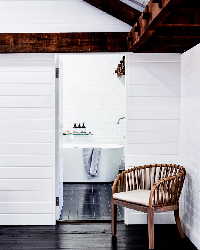 """The Malawi chair at the bathroom entrance is from [Uniqwa Furniture](https://uniqwafurniture.com.au/ target=""""_blank"""" rel=""""nofollow"""")."""