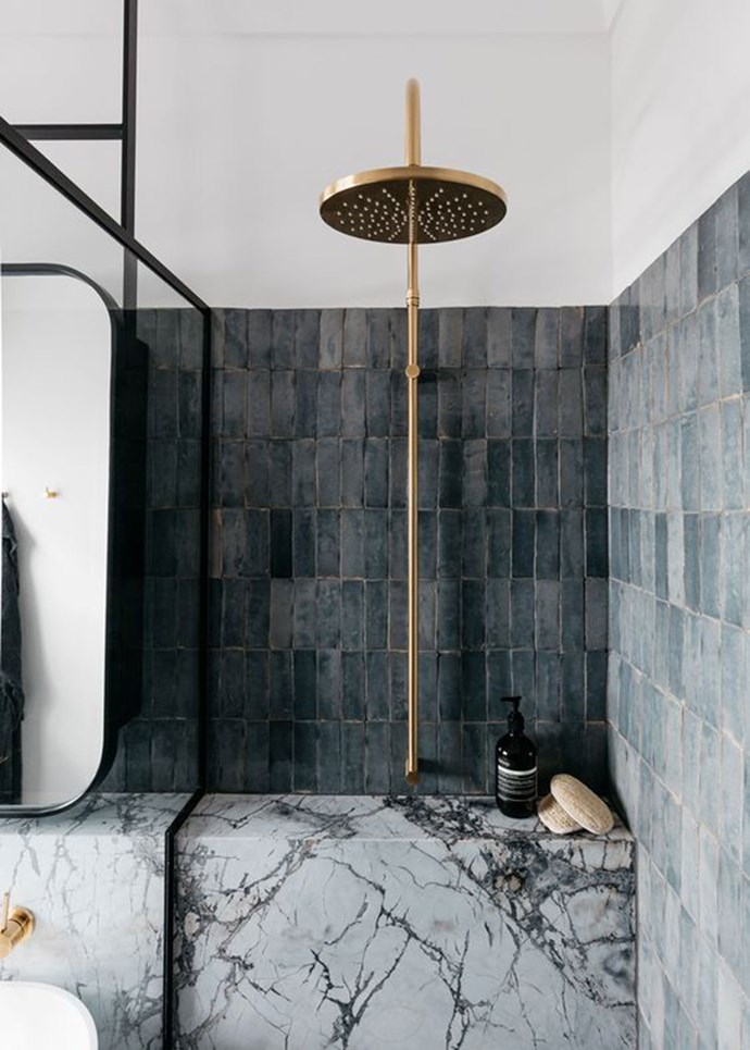 Interior designer Alexandra Donohoe Church from Decus Interiors used natural marble in this bathroom in Woollahra, Sydney. *Photography: Felix Forest*