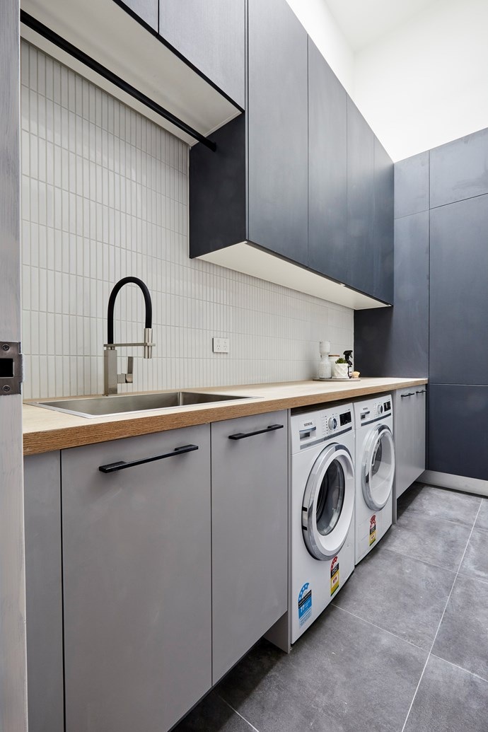 **Laundry -** A monochrome palette is brought to life thanks to the clever use of different tones and textures in Bianca and Carla's laundry.