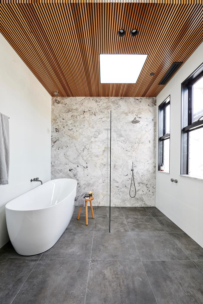 **Main bathroom -** Bianca and Carla blew us away with their main bathroom in week two. They went above a beyond with the timber panelling on the ceiling and the statement stone feature wall and we're still not sure how they didn't win this one.