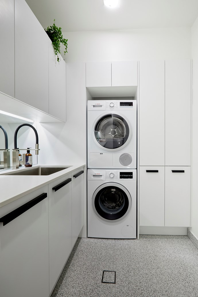 "**Laundry** - Keeping it consistent, the couple again used terrazzo tiling in their [compact laundry](https://www.homestolove.com.au/small-laundry-style-ideas-19137|target=""_blank""). While we're big fans of the room's simple styling and sleek cabinetry, the judges felt it was lacking 'high end' appeal."