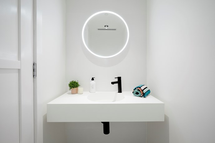 "**Powder room** - A round LED mirror was the hero of Hans and Courtney's powder room, which the judges loved. Former contestants [Michael and Carlene weighed in](https://www.homestolove.com.au/the-block-2018-hallway-laundry-powder-rooms-19047|target=""_blank"") on the room, and said that while they love Hans and Courtney's style, they would have liked to see some natural materials introduced into the space to add warmth."