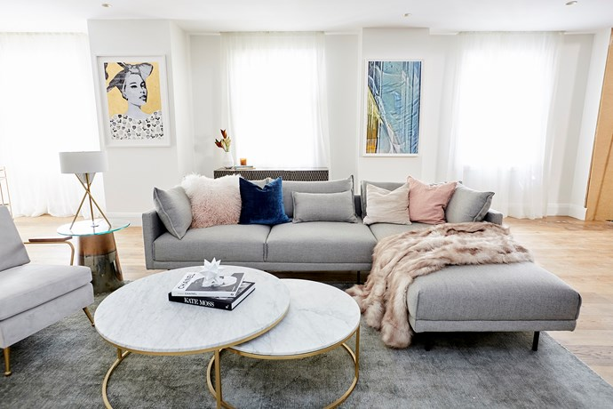 """The judges loved Hayden and Sara's choice of furniture in the [living room](https://www.homestolove.com.au/the-block-room-reveals-living-and-dining-areas-18795