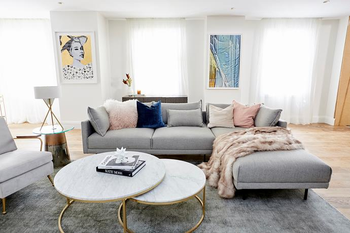 "The judges loved Hayden and Sara's choice of furniture in the [living room](https://www.homestolove.com.au/the-block-room-reveals-living-and-dining-areas-18795|target=""_blank"") but felt that the room was oriented around the television - a big styling no-no. We love the soft colour palette of pinks, greys and a touch of navy blue."