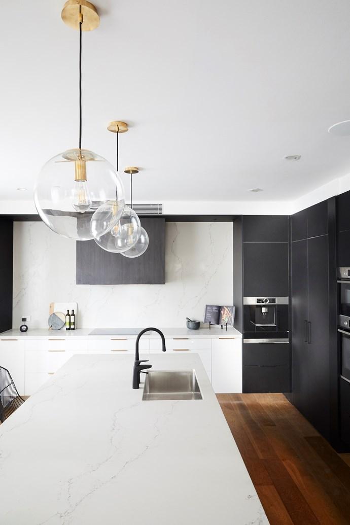 """Sleek and sophisticated, [Hayden and Sara's kitchen](https://www.homestolove.com.au/the-block-2018-kitchen-reveals-18996