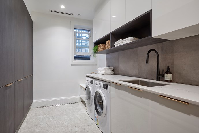 """Hayden and Sara's [laundry featured a clever layout](https://www.homestolove.com.au/the-block-2018-room-reveal-hallway-shannon-vos-19048