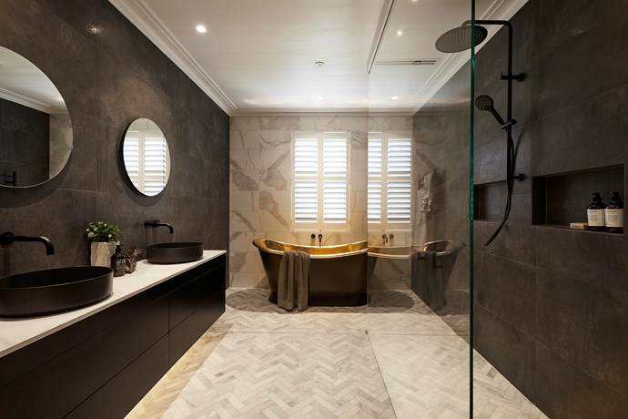 """Hayden and Sara became notorious this season for creating the most expensive bathroom in the history of The Block! Featuring a gold bathtub and herringbone marble floor tiles, no expense was spared in its creation. While the couple were told to remove the bath by buyer's agent Nicole Jacobs, [the pair stuck to their guns and kept it anyway](https://www.homestolove.com.au/the-block-hayden-and-sara-brass-bath-18845