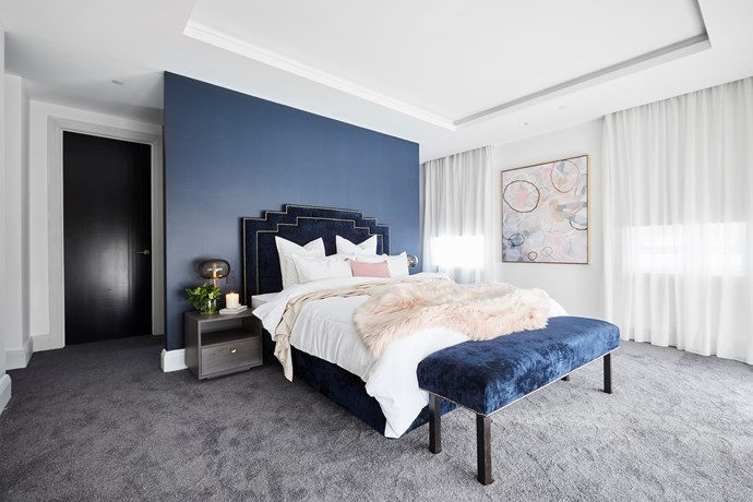 """After an emergency style session with Shaynna Blaze, Hayden and Sara took out the room win with their modern art-deco inspired [master bedroom](https://www.homestolove.com.au/the-block-2018-master-bedroom-reveals-18901