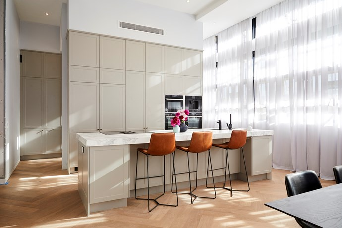**Kitchen -** The judges were enamoured with the thick marble bench and the Shaker-style cabinetry in Norm and Jess' elegant kitchen.