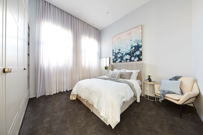 **Guest bedroom 2 -** This guest bedroom was so good that Shaynna Blaze wished they would recreate in the master. The Scandi-inspired design and soft, neutral palette made for a dreamy and inviting space made for rest and relaxation.