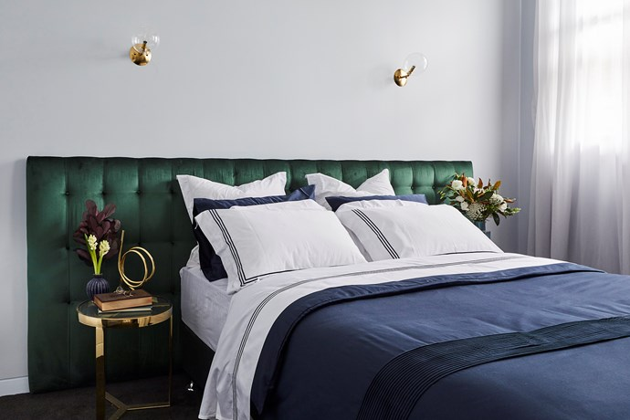 ** Guest bedroom 1 -** When Norm and Jess demonstrated this level of luxury in week two on The Block, we knew they were a force to reckon with. The emerald green, oversized bedhead, hotel-style bedding and brass accents ooze penthouse luxury.