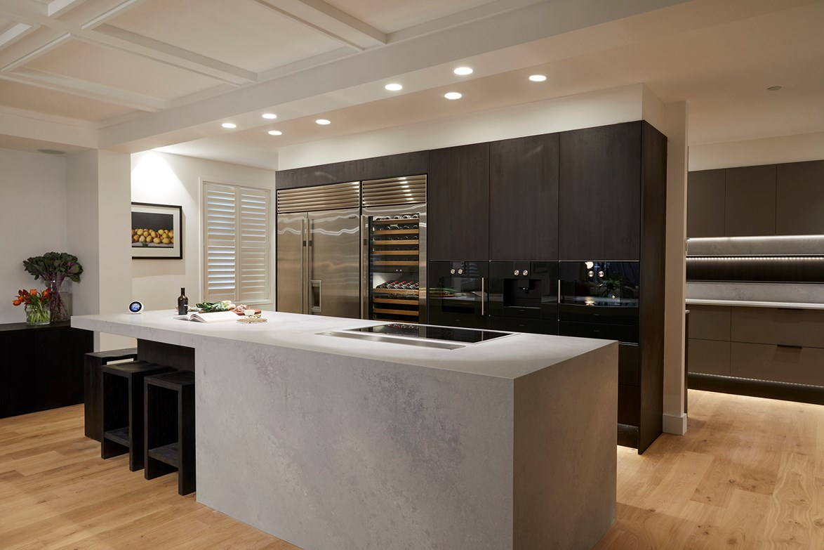 The sophisticated entertainer's kitchen created by Kerrie and Spence earned a perfect score from the judges. Its functional layout, high-end appliances and open-ended butler's pantry is expected to attract interest from buyers.