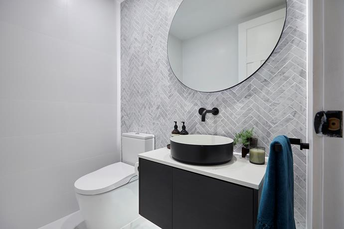 "**Powder room** - The couple's [powder room](https://www.homestolove.com.au/whats-your-powder-room-style-4-chic-and-functional-spaces-we-love-15101|target=""_blank"")  was a hit with the judges. They particularly loved the layout which conceals the toilet from view upon entry."