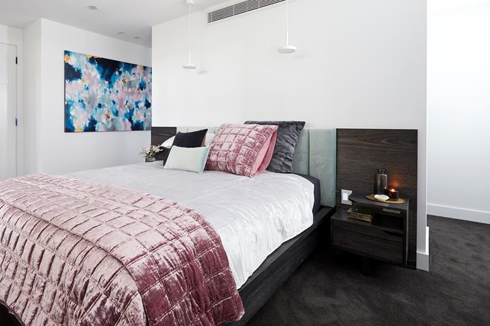 **Master bedroom** - The judges loved Kerrie and Spence's choice of bed head and crushed velvet bedding, but felt that the room's styling was a little *too* safe.
