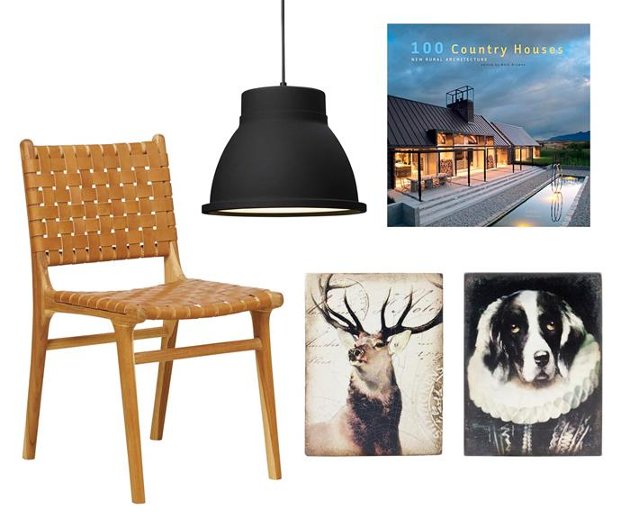 "**Moodboard** (clockwise left to right) Leather strapping dining chair in Teak and Tan, $450, [Fenton&Fenton](https://www.fentonandfenton.com.au/|target=""_blank""