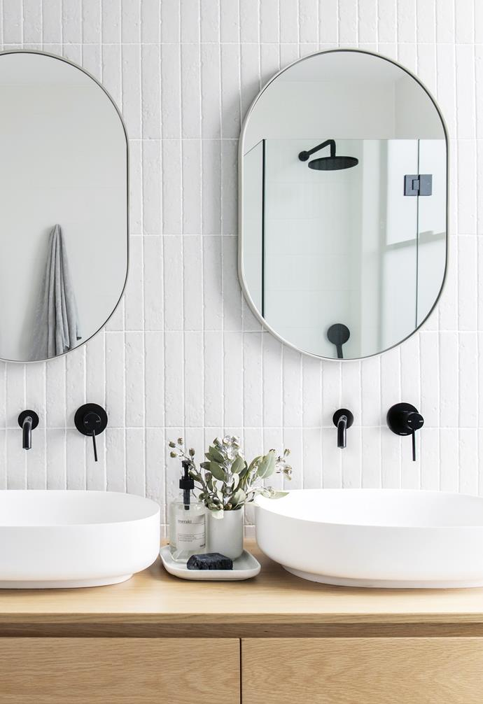 "**Double it up** In this bathroom designed by [The Stables](http://www.thestablesco.com.au/|target=""_blank""