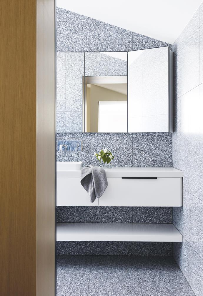 "**Terrazzo twist** The terrazzo tile used in this home by adds a playful dimension to this streamlined bathroom. *Styling: Nina Provan | Photography: Rory Gardiner | Image courtesy of [Pandolfini Architects](http://pandolfini.com.au/|target=""_blank""