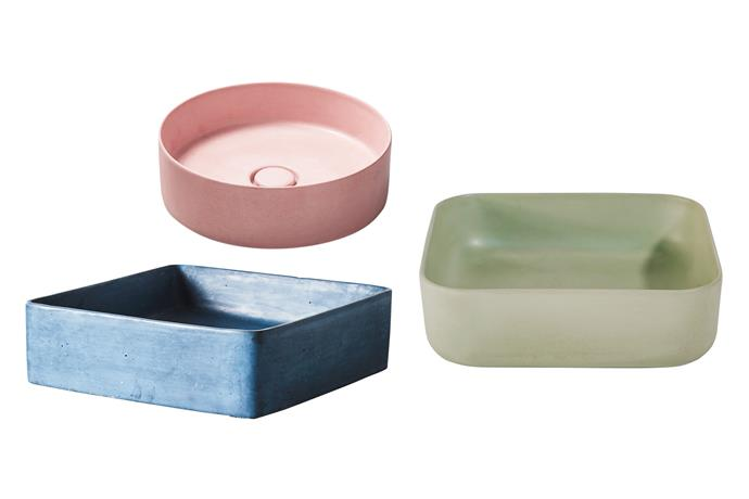 "*Left to right*: **Beachy blue** It's a true-blue beauty. 'Lux' basin in Deep Ocean, $580, [Concrete Nation](https://www.concretenation.com.au/|target=""_blank""