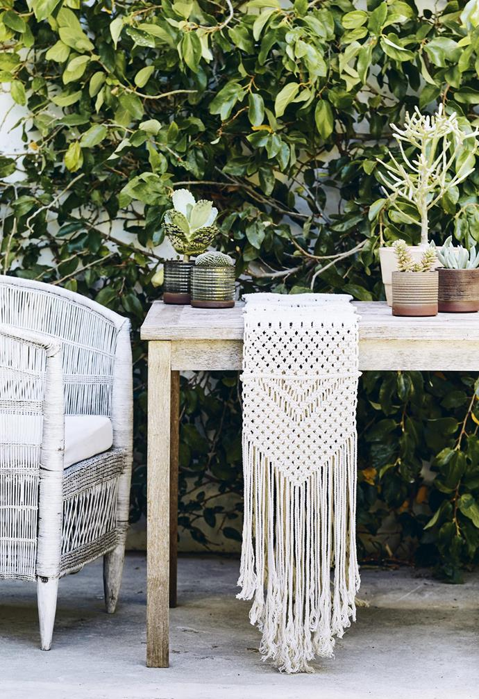 **Fringe benefits** The organic texture of a macramé table runner is a nostalgic antidote to its machine-made contemporary equivalents. A combination of several types of knot and draped fringing makes this an instant conversation piece.