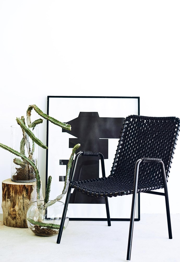 **Roped in** Design loves the unexpected application of techniques and materials, and this chair embodies just such a surprise. The simple frame has been upcycled with a macramé seat in an elegant, simple knot with cuff detailing on the arms.
