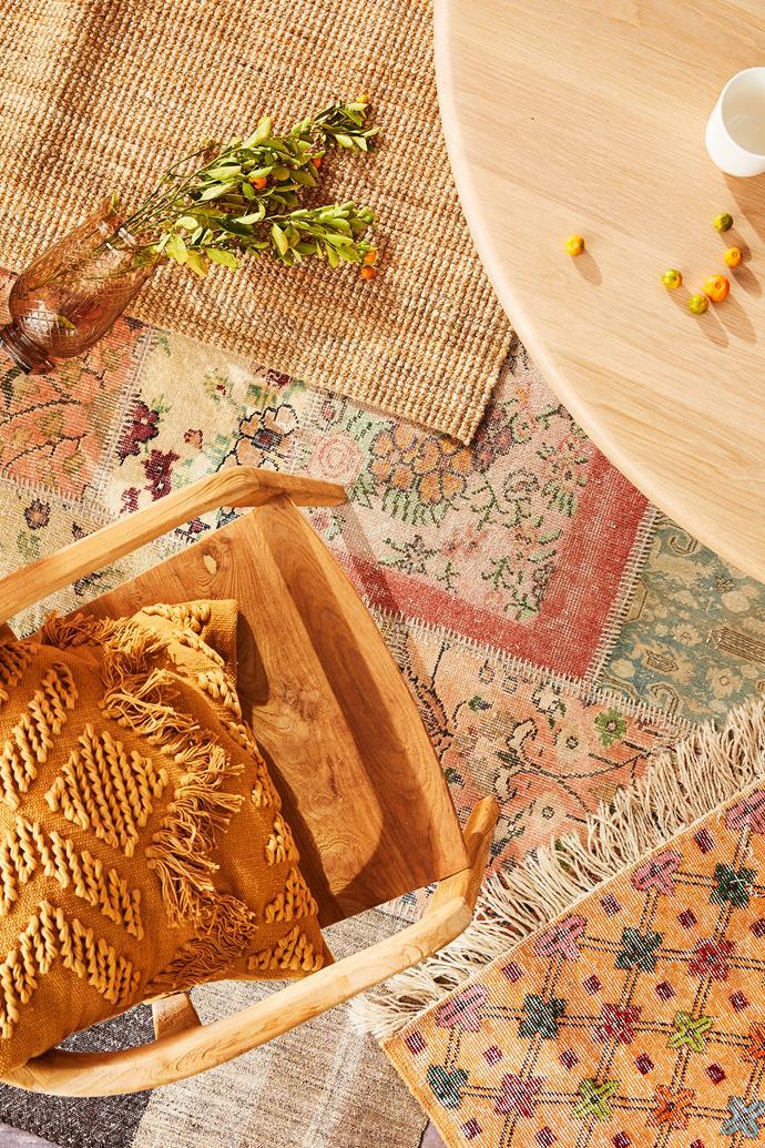 "Handmade Overdyed Turkish rug in Multi (2.45m x 1.7m), $2150, [Matt Blatt](https://www.mattblatt.com.au/ target=""_blank"" rel=""nofollow""). Vintage Anatolian ""Karaman"" Kilim rug (1.68m x 2.81m), $1700, [Koskela](https://www.koskela.com.au/ target=""_blank"" rel=""nofollow""). Lohals flatwoven rug in Jute (0.8m x 1.5m), $49, [Ikea](https://fave.co/2PsJ0Rq target=""_blank""). Loom Vintage Anatolian ""Damali"" rug (1.59m x 2.72m), $2450, [Koskela](https://www.koskela.com.au/ target=""_blank"" rel=""nofollow"")."