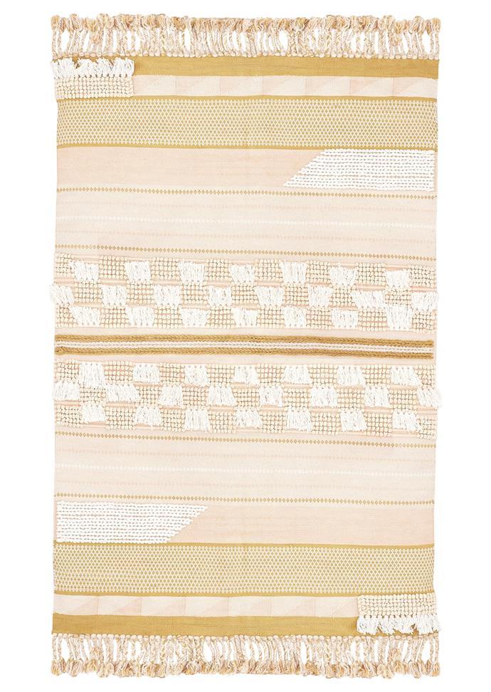 """Floss Fringe Rug, $297, [Langdon Ltd](https://langdonltd.com.au/collections/rugs/products/floss-fringe-rug target=""""_blank"""" rel=""""nofollow"""")."""