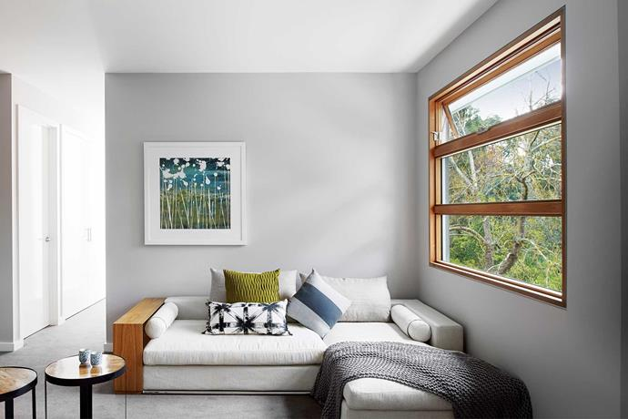 A Stegbar Siteline awning window captures the breeze in the upstairs rumpus room.