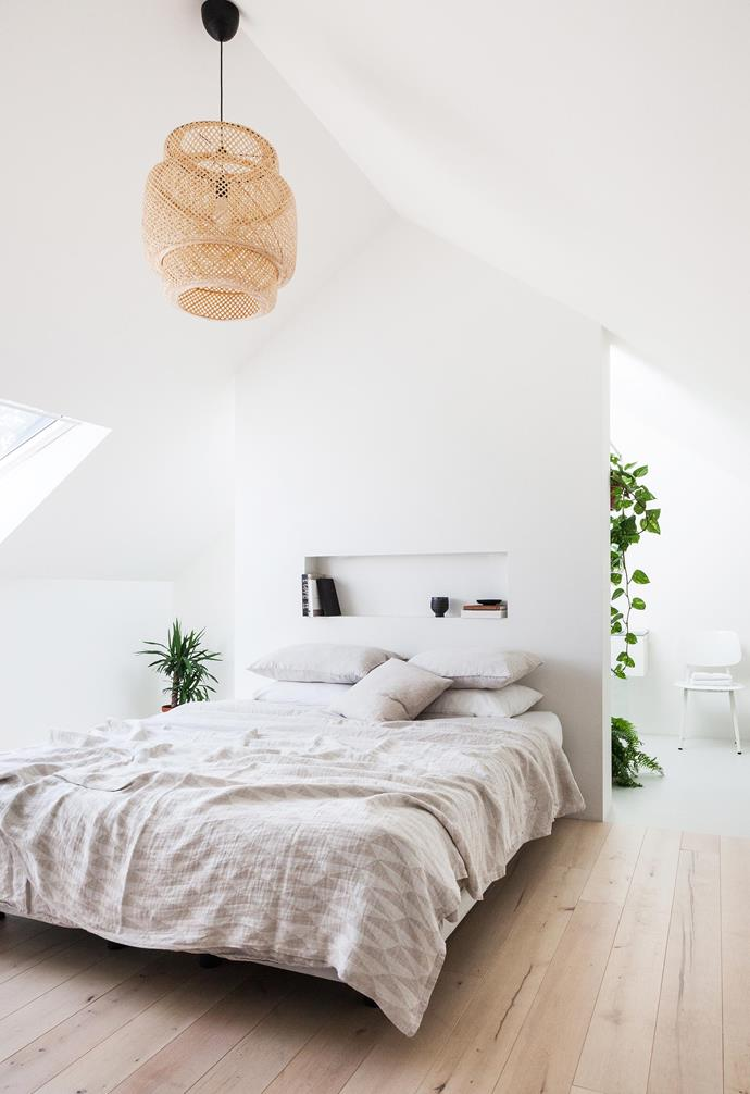 **Master bedroom** Beech timber flooring offers warmth, as does a 'Sinnerlig' pendant light by Ilse Crawford for IKEA.
