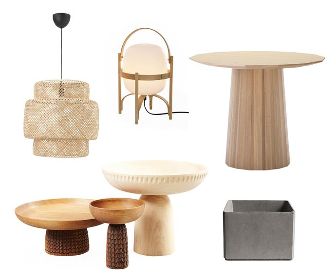 "**Eco logical** Accessories and smaller pieces in natural tones and materials tick all the right green boxes in any home. **Get the look** (clockwise left to right) 'Sinnerlig' bamboo pendant light, $89, [IKEA](https://www.ikea.com/|target=""_blank""