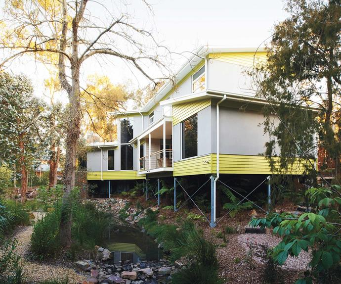 Exterior of an eco-friendly weatherboard home with creek in foreground