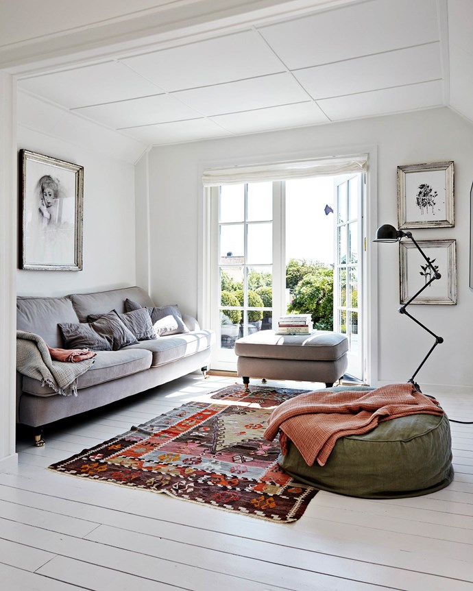 """This little corner of the living room looks out to the patio. The rug is from Jette's store, [Le Metiér](http://www.le-metier.dk/
