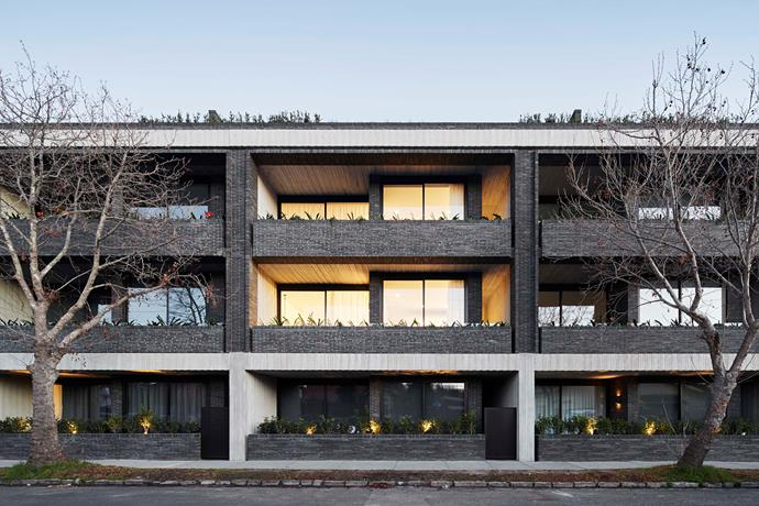 This apartment complex design has a modern, brutalist edge. It was created with owner-occupiers in mind.