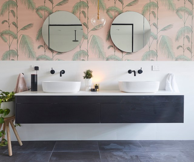 The vintage palm tree print in Bianca and Carla's ensuite created luxe hotel feel.