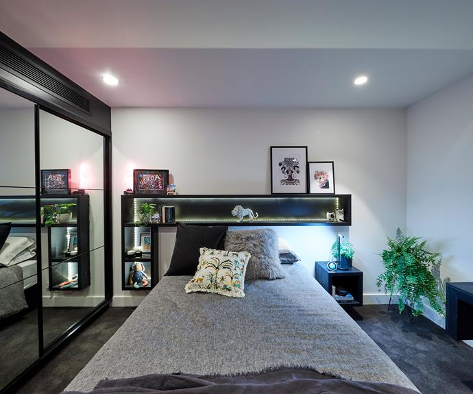 **Kerrie and Spence** Seeking to make the most of their compact space, the couple decided to build in a recessed shelf above the bed.
