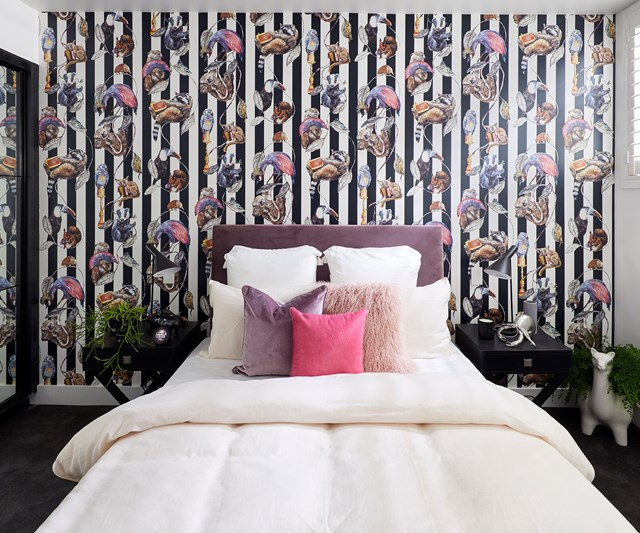The bold House of Hackney wallpaper stole the show in Courtney and Hans' guest bedroom.