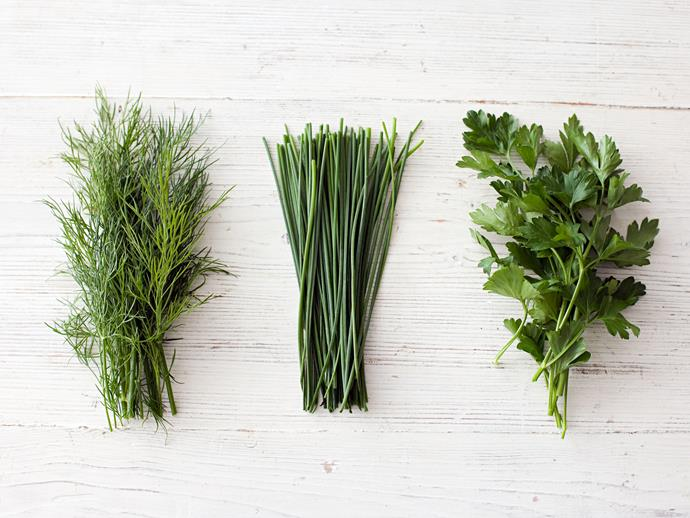 Having fresh dill, chives and flat leaf parsley on hand will up your culinary game.