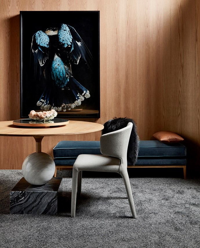 "These original designs from Zuster featured in H&G's 2017 Style Awards. Shown here is the bold 'Gem' dining table and 'Husk' dining chair; [zuster.com.au](https://zuster.com.au/|target=""_blank""