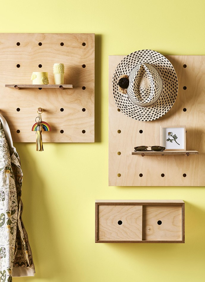 Hat racks, pegboards and shelving can double as decorative features for your walls.  *Photography: Mike Baker | Styling: Bree Leech*