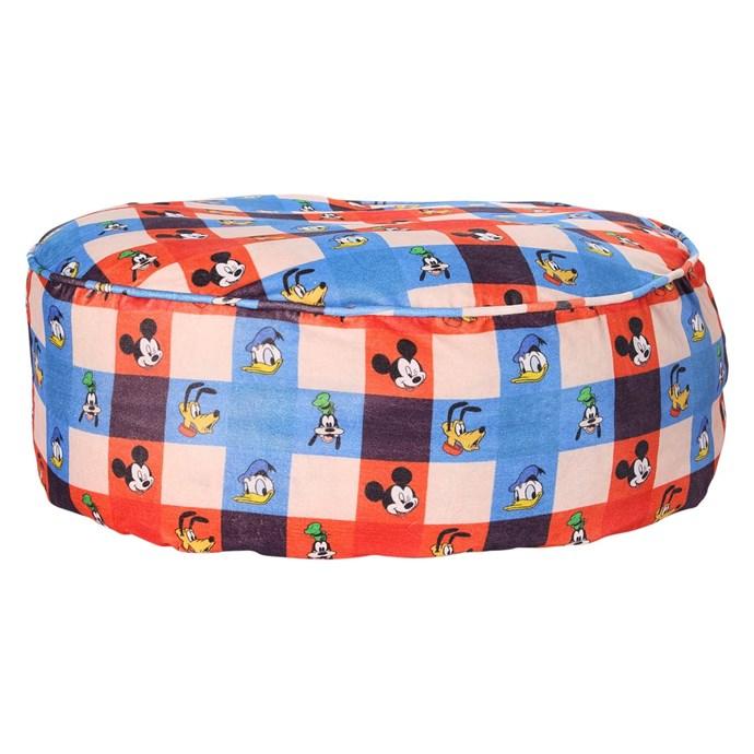 Disney X Kip&Co Check Mate Mickey Velvet Ottoman, $189.00